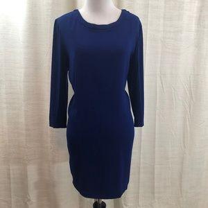 Sandra Navy Lined Long Sleeve Dress with Pockets